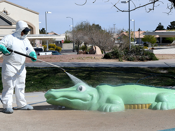 man spray washing a crocodile statue