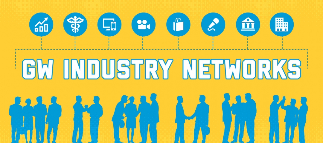 Eight GW alumni industry networks graphically depicted