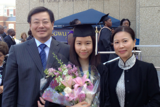 GW parents Jian Zhang and Min Shi were thrilled when their daughter Isabella Zhang, GWSB B.Accy '14, chose to attend GW
